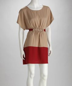 Take a look at this Taupe & Wine Color Block Dress by Signature Style: Women's Apparel on #zulily today!