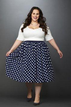 Plus Size Clothing for Women - Makena Polka Dot Chiffon Skirt Navy/Ivory - Society+ - Society Plus - Buy Online Now! - 4