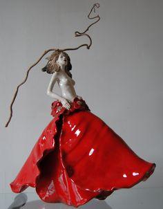 Sculpture Céramique Raku Fille Coquelicot Pauline Wateau 2011