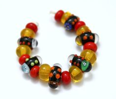 Set of Black Murrini Pods with Colorful Matching by blancheandguy, $38.00