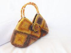 Granny Square Bag felted wool handbag Fiber Art Purse by LJDBags, $125.00