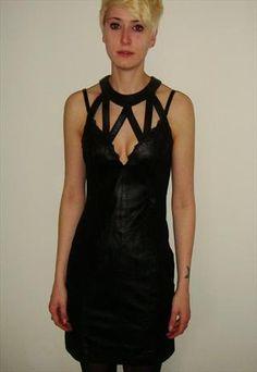 Vintage cutout leather dress