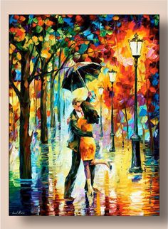 Fine Art Decor - Dance Under The Rain — Limited Edition Artwork Print On Canvas By Leonid Afremov. Romantic Couple
