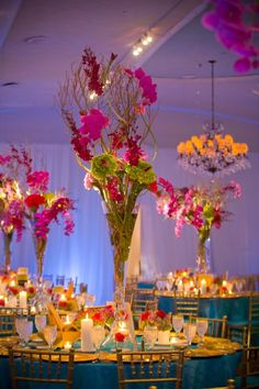 Beautiful bright centerpieces for a bat mitzvah! #southfloridaevents #centerpieces #orchids