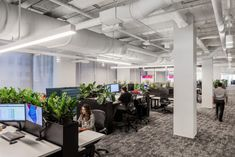 Lendlease Regional Headquarters - New York City - Office Snapshots City Office, Green Office, Office Lounge, Office Table And Chairs, Green Table, Office Environment, Green Carpet, Wooden Cabinets, Interior Plants