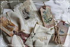 Shabby Chic Inspired: card, tags, envelope