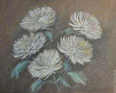 Купить Картина пастелью Белые хризантемы - серый, натюрморт с цветами, картина в подарок, картина для интерьера