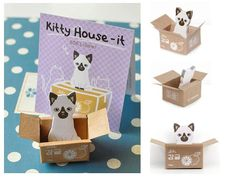 Little white cat sticky notes mini pet cat memo by StickersKingdom