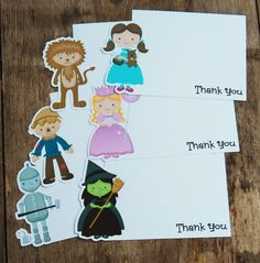 Wizard of Oz Party - Set of 8 Assorted Oz Thank You Cards by The Birthday House via Etsy