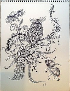 Zentangle Owl by Luna Pottery