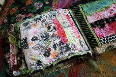 Art journal inspiration. Rambling Rose. Typepad blog. Fabric journal tuscan rose d