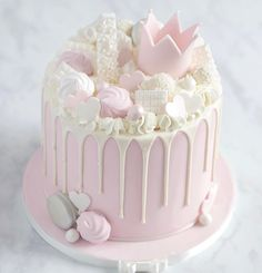Girly Birthday Cakes, Birthday Drip Cake, 1st Birthday Princess, Sweet 16 Birthday, Pink Sweets, Pastel Cakes, Cake Tasting, Drip Cakes, Cake Creations