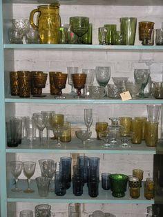 Colorful vintage glassware