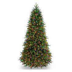 National Tree Company 7.5 ft. Feel Real Jersey Fraser Fir Slim Pre-lit Christmas Tree - PEJF1-374R-75