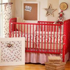 I love this red Jenny Lind crib