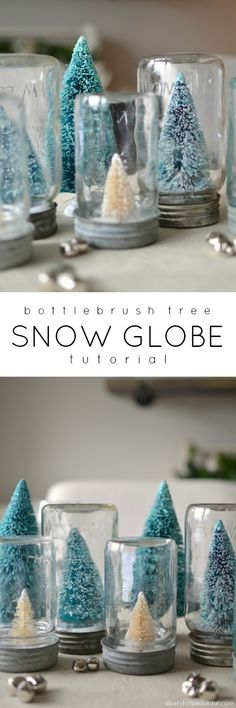How to make these Beautiful DIY Bottlebrush Canning Jar Christmas Snow Globes featured on Ella Claire.