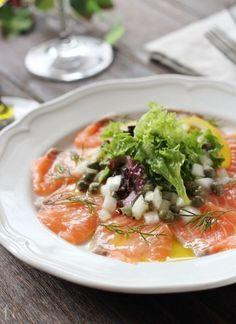 연어와 새로운 양파의 카파 치오 Appetizer Salads, Appetizers, Japanese Food Dishes, How To Cook Ribs, Dinner Today, Cooked Cabbage, Cooking White Rice, Cooking Instructions, Fish And Seafood