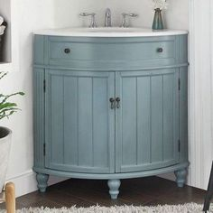 "Chans Oriental Thomasville 24"" Corner Bathroom Vanity in Light Blue NL-GD-47544BU at DiscountBathroomVanities.com"