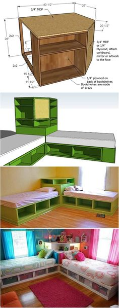 How to DIY Corner Unit for the Twin Storage Bed #furniture #kids #storage_bed