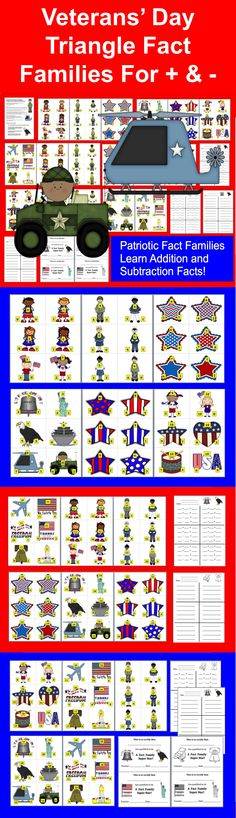 $3.00 Veterans' Day Patriotic Fact Families - Triangle Facts - 102 Fact Families with Patriotic graphics with all number families to 18  -  Differentiate!  Great for learning addition and subtraction facts! (42 Different Patriotic Graphics) 25 Page Download - Being able to write the number facts for a Fact Family is an important skill that helps students realize how memorizing one fact helps you to know 3 other facts right away!  Differentiate!