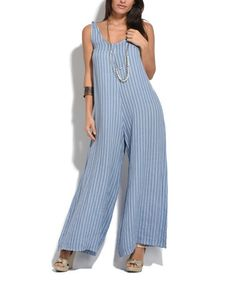 Another great find on #zulily! Faded Blue Daniel Linen Jumpsuit #zulilyfinds