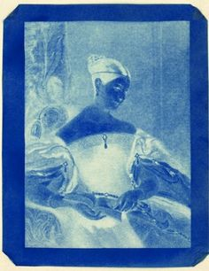 """Photo by Sir John Herschel. 'The Honourable Mrs. Leicester Stanhope,' 1843. An early cyanotype, the photographic process invented by Herschel. Mona Evans, """"John Herschel"""" http://www.bellaonline.com/articles/art183381.asp"""