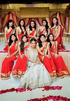 Indian Bridesmaids Dresses and more. Looking for inspiration on choosing your Indian or Pakistani bridesmaids dresses, anarkalis or suits check out our slideshow! Indian Bridesmaid Dresses, Bridesmaid Poses, Bridesmaid Saree, Bridesmaid Outfit, Brides And Bridesmaids, Mehndi Outfit, Indian Wedding Planning, Big Fat Indian Wedding, Indian Weddings