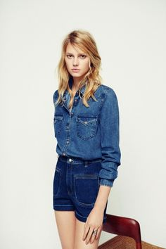 Sigrid Agren stars in Mango's March 2015 lookbook spotlighting denim looks.