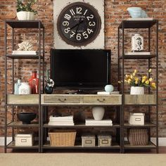 Sadie Industrial Rustic Open Shelf Media Console with Two Towers