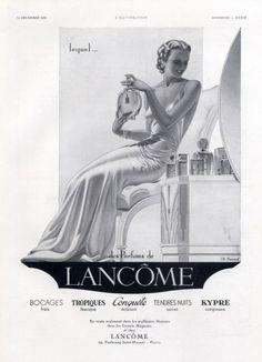 Lancôme (Perfumes) 1935 Charles Lemmel Vintage advert Perfumes illustrated by Charles Lemmel | Hprints.com