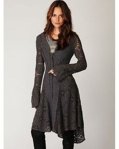 Buy Free People Women's Gray Crochet Long Sweater Jacket, starting at $149. Similar products also available. SALE now on!