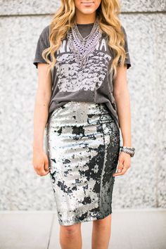 Sequin Skirt + Graphic Tee | sweetandsauer.com