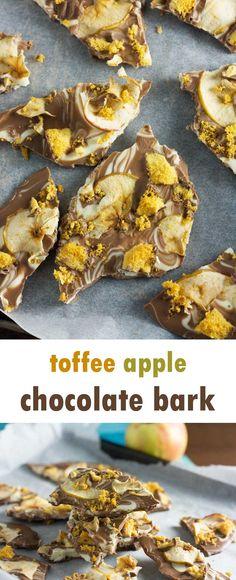 Toffee apple chocolate bark