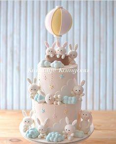 Ideas Baby Shower Nena Conejita For 2019 Fondant Cake Designs, Fondant Cupcakes, Cupcake Cakes, Bunny Cupcakes, Cupcake Toppers, 1st Birthday Cake For Girls, Baby Birthday Cakes, Baby Shower Pasta, Baby Shower Cakes