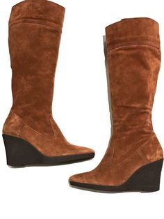 c3af2db13 Talbots Tall Suede Boots Womens Size 9.5 M Wedge Heels Caramel Brown Knee  High  Talbots