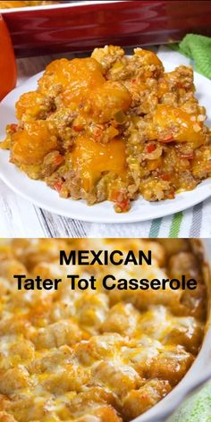 Ground Beef Recipes Discover Mexican Tater Tot Casserole Mexican Tater Tot Casserole - This easy casserole recipe was a hit with my family! It was spicy hearty and tasty. Comfort food for the win. Meat Recipes, Healthy Dinner Recipes, Cooking Recipes, Amish Food Recipes, Easy Comfort Food Recipes, Leftover Chili Recipes, Easy Mexican Food Recipes, Easy Recipes For Two, Easy Mexican Dishes