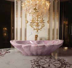 Your Luxury Bathroom Decor Needs A Rose Quartz Crystal Bathtub! Dream Bathrooms, Beautiful Bathrooms, Master Bathrooms, Luxury Bathrooms, Luxury Bathtub, Pink Bathtub, Marble Bathtub, White Bathrooms, Master Baths