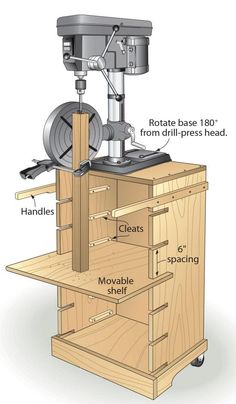 """My family gave me a benchtop drill press for a present. And even though I really wanted a bigger one, I decided it would be more considerate to make the smaller drill press act bigger than to return the gift. To make that happen, I mounted my drill press to a portable stand that I made out of 3⁄4"""" plywood. The movable shelf actually works better and faster than cranking the table up and down on a stationary press. And, because I mounted casters and handles to the stand, it's more portable…"""