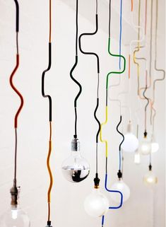 LIGHTING Cable Jewellery Pendants by Volker is an important element on interior design projects Choose an elegant chandelier a vintage suspension lamp or a minimalistic ceiling light for your home See some of the best home design ideas at Interior Lighting, Home Lighting, Lighting Design, Lighting Ideas, Pendant Lamp, Pendant Lighting, Lighting Cable, Industrial Lighting, Luminaire Original