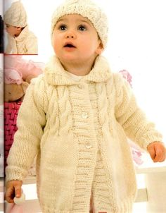 ... ? Vestiamole con cardigan, abitini e cappellini lavorati a maglia Crochet Baby Jacket, Knit Crochet, Knitting For Kids, Baby Knitting, Victorian Coat, Knit Baby Sweaters, Kids Patterns, Kids Coats, Knitwear