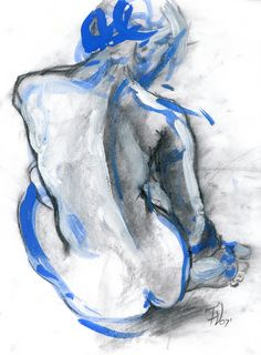 "Valeria Fulop; Acrylic, 2007, Painting ""Nude No1""...' I like the blue outline of the sketch.. Makes it seem more modern"