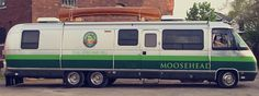 """A Moosehead Brewery-branded Airstream 345 LE motorhome. The latter was built on on a Chevrolet P-30 chassis with a 204"""" wheel base."""