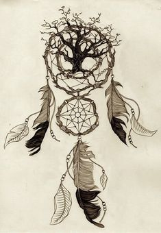 This is awesome especially since I want both a tree tattoo and a dream catcher ink! Future Tattoos, Love Tattoos, Beautiful Tattoos, Body Art Tattoos, New Tattoos, Tatoos, Dream Catcher Drawing, Dream Catcher Tattoo, Tattoo Indien