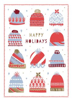 Rebecca Prinn - RP Puzzle Christmas Hats Greeting Card
