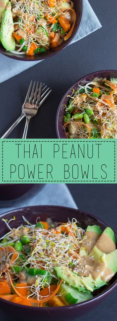 Thai Peanut Power Bowls: the perfect light, fresh, and crisp meal for summer! I can't get enough of that peanut sauce http://www.savourandshine.com/thai-peanut-power-bowls/