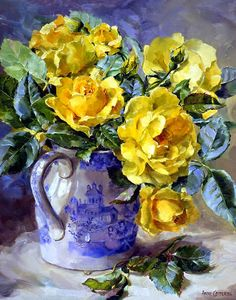 Yellow Roses - Blank/Birthday Card by Anne Cotterill Flower Art Painting Still Life, Still Life Art, Paintings I Love, Art Floral, Still Life Flowers, Yellow Roses, Love Art, Painting Inspiration, Watercolor Paintings