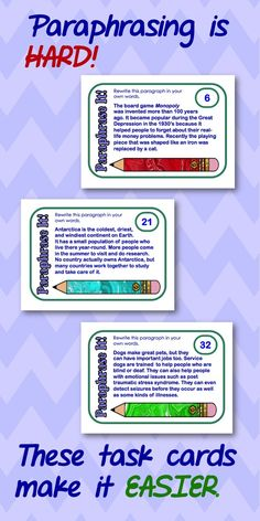 Task Cards on Pinterest | Task Cards, Paragraph and ...