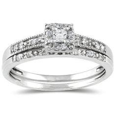 Princess Diamond Bridal Set in 10K White Gold $299.00 (save $300.00)