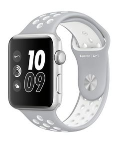 Apple Watch Nike+ 42mm Silver-Tone Aluminum Case with Flat Silver-Tone/White Nike Sport Band - Jewelry & Watches - Macy's