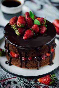 The EASIEST Strawberry Chocolate Cake ever! You just need to add a simple…